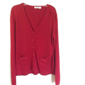 Cato red Soft cardigan pockets with Bow detail